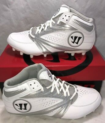 $80 Warrior Mens Size 8.5 Second Degree 3.0 Lacrosse Lax Cleats White Silver