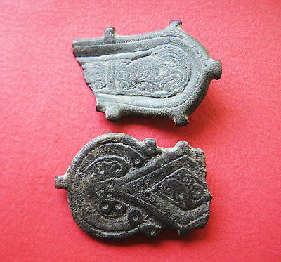 A Group of Two Visigoth Bronze Belt Plates, 5th - 7th Century AD