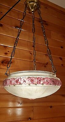 Antique Early 1900s-20s Deco/Art Nouveau Hanging Ceiling Light Chandelier,
