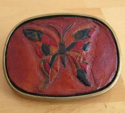 Vintage 1983 Baron Buckles Ladies Butterfly Tooled Leather and Brass Belt Buckle