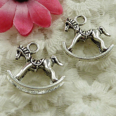 Free Ship 30 pieces Antique silver cockhorse charms 21x20mm #1707