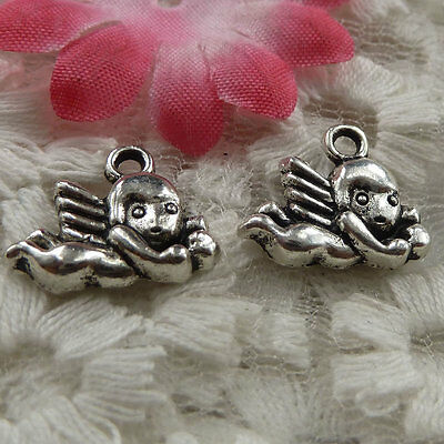 free ship 255 pieces Antique silver angel charms 16x13mm #4295