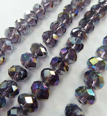 Wholesale 1000pcs AB violet Abacus Faceted glass crystal loose spacers bead 8mm