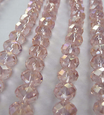 Wholesale 1000pcs AB pink Abacus Faceted glass crystal loose spacers bead 8mm
