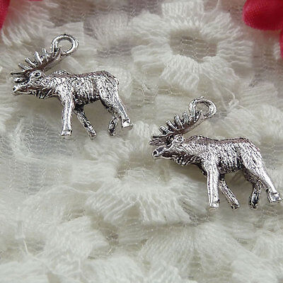 Free Ship 180 pieces Antique silver moose charms 18x15mm #222
