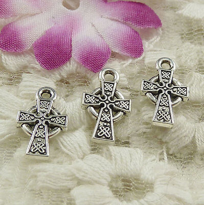 Free Ship 408 pieces Antique silver cross charms 15x9mm #4542