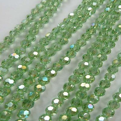 Wholesale 1000pcs AB light green Round Faceted glass crystal loose bead 4mm