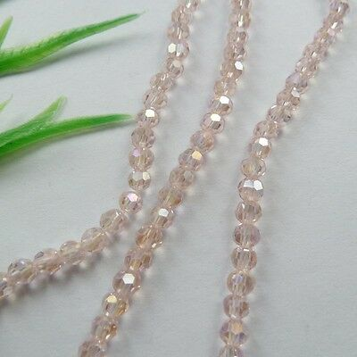 Wholesale 1000pcs AB pink Round Faceted glass crystal loose spacers bead 4mm