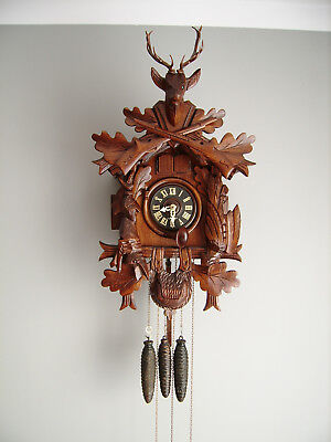 QUARTER CUCKOO CLOCK WITH QUAIL FROM THE 1950's