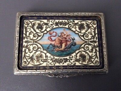 Antique Enamelled Sterling Silver trinket desk box / Continental 800 Silver Case