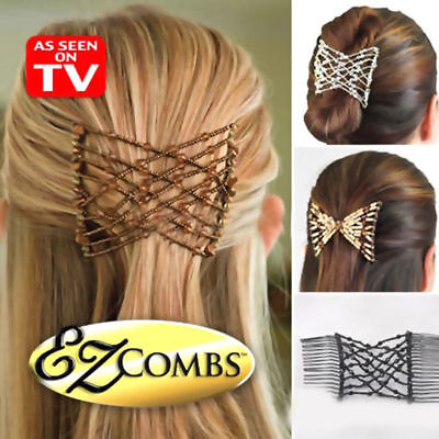 2 Magic Hair Slide Easy Double Beads Stretchy Hair Comb Clip Stretchable Hairpin