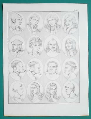 PEOPLE of Russia Siberia Indians Peru Brazil Mohawk - 1828 Antique Print