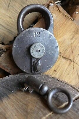 Antique Padlock with one key F.Sengpiels working order Made in Germany 12