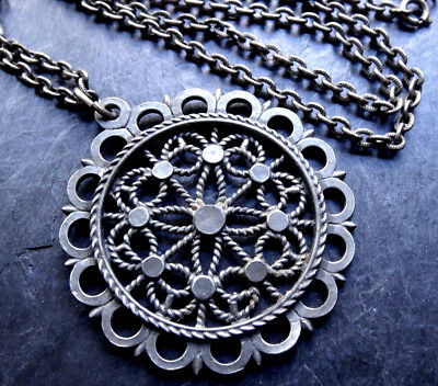 vintage abstract flower pewter pendant long chain necklace 1970s -A402