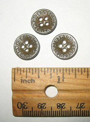 Lot of 3 Antique Vintage Stamped Metal Boy Scouts of America BSA Uniform Buttons