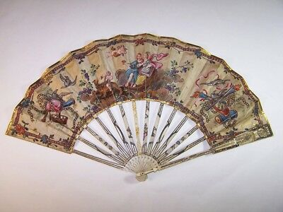 Rare antique 18thC french carved hand painted marriage fan / Bachus and Ariane