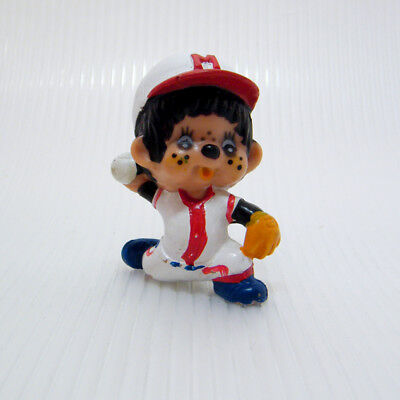 Vintage MONCHHICHI BASEBALL PITCHER in White Outfield Thowing Ball PVC Figure