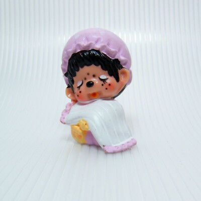 Vintage MONCHHICHI Girl SLEEPING in Pink Nightgown and Cap Figure 2