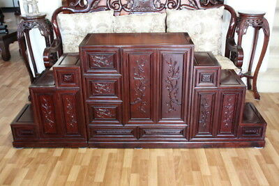 Solid Asian Rosewood ( Huanghuali ) Stepped Tansu Cabinet, Lots Of Storage