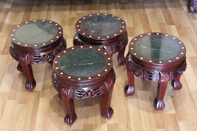 4 Chinese Tea Stool or Stands / Mother of Pearl Inlay and Marble