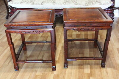 Pair of Asian Rosewood ( Huanghuali ) Ming Tea or Side Tables
