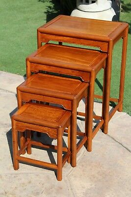 Solid Asian Rosewood Nesting Table Ming Design, Simple but Elegant