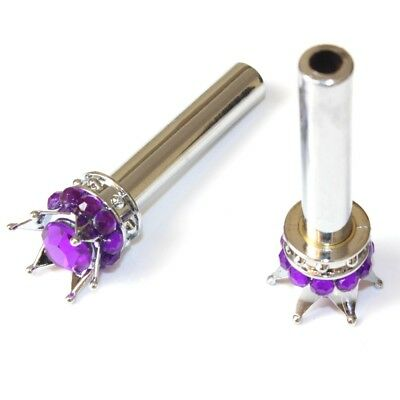 2 Purple Bling Diamond Crown Door Lock Knobs for Auto/Car & Truck Interior Pins