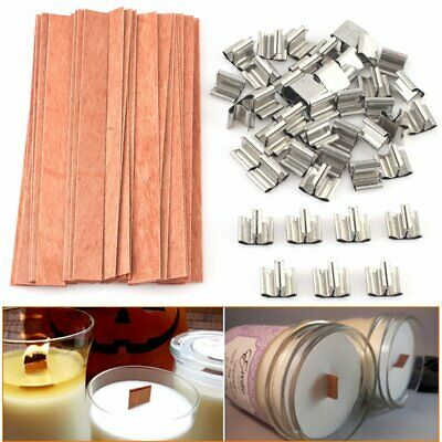 40pcs Wooden Wick Candle Core Sustainers Tab DIY Candle Making 12.5 x 150mm