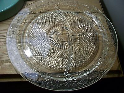 Vintage  Indiana Depression Glass Daisy Pattern Grill Plate