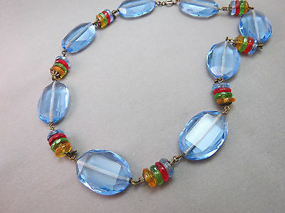VTG Art Deco Antique Necklace Faceted Glass Crystal Blue Multi Color Bead 16.5""