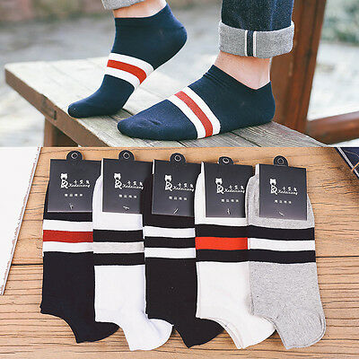 5pairs Men Boys Cotton Low Cut Ankle Socks Athletic Casual Stripe Pattern Socks~