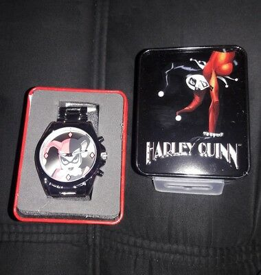 harley quinn accutime watch metal band with tin brand new DC