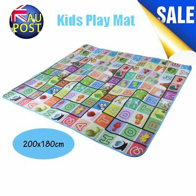 2mx1.8m XXL Nontoxic Baby Kids Play Mat Floor Rug Picnic Cushion Crawling Mat HO