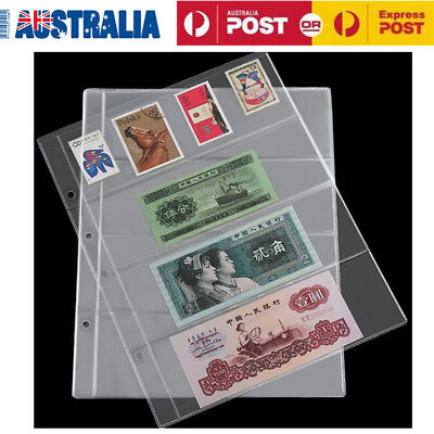 10pc 4 Pockets Money Currency Banknote Stamp Tickets Collection Album Pages PVC