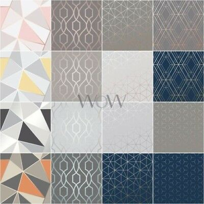 Geometric Metallic Wallpaper Fine Decor Apex & Wow Metro - Rose Gold Copper Blue