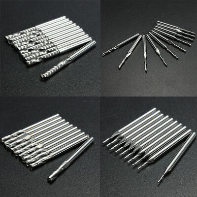 1mm 2mm 3mm 3.175mm Carbide End Mill Slot Drill Milling Cutter 10 pcs/set new