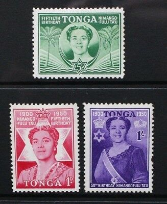 TONGA 1950 Queen Salote 50th Birthday. Set of 3. Mint HINGED. SG92/94.