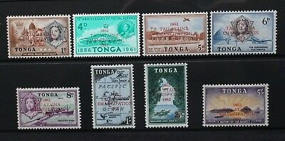 TONGA 1962 Centenary of Emancipation Overprint. Set of 8. MNH. SG120/127.
