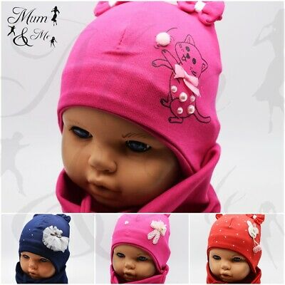 Baby Girls Lace Up Tie Hat with Scarf Sets Infant Girls Cotton Newborn Spring