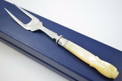 Cased Sheffield Pearl Handled & Solid Silver Olive Fork Dated 1898