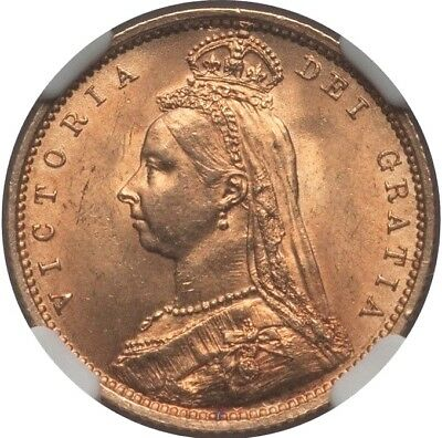 1892 Victoria Jubilee Head Gold Half Sovereign Coin No JEB NGC MS63 KM766