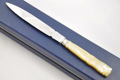 Hand Carved Mother Of Pearl Sheffield Solid Silver Bladed Letter Opener 1824