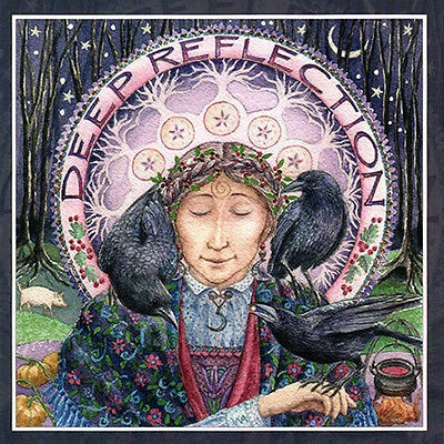 PAGAN WICCAN GREETING CARDS Deep Reflection GODDESS Crow CELTIC WENDY ANDREW