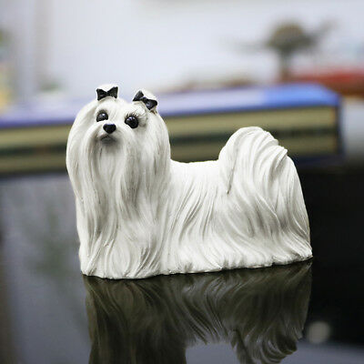 Collectibles Maltese Dog Hand Painted Resin simulation model Figurine Statue