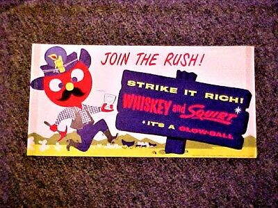 Vintage Squirt Soda - Glow Ball Paper Window Sign 1960 Whiskey & Squirt