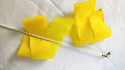 10 Yellow Dance Ribbon 4M Gymnastics Chinese Baton Rod Streamer Exercise Party