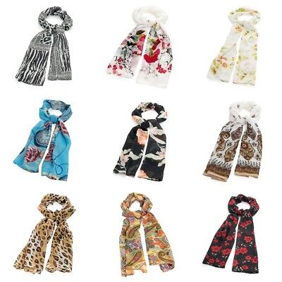 Patterned Design Fashion Neck Head Scarf 100% Polyester Floral Animal Paisley