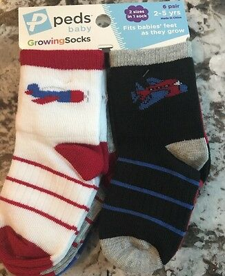 Nwt Toddler Boy 6 Pair Pack Peds Growing Socks Size 2-5 Year Old