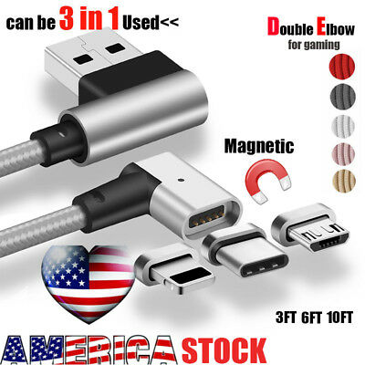 US Magnetic Elbow Strong Micro Type-C iOS 3 IN 1 Adapter Charging USB Cable Lot