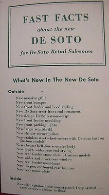 FAST FACTS about the new DeSoto for Retail Salesman 1950 Features Specs Models